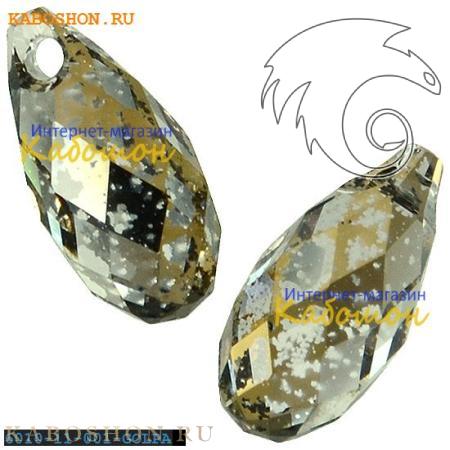 Бусина Swarovski (Сваровски) Briolette 11х5,5 мм Crystal Golden Patina