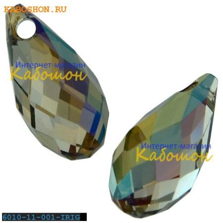 Бусина Swarovski (Сваровски) Briolette 11х5,5 мм Crystal Iridescent Green