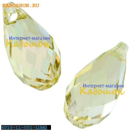 Бусина Swarovski (Сваровски) Briolette 11х5,5 мм Crystal Luminous Green