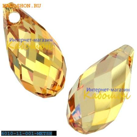 Бусина Swarovski (Сваровски) Briolette 11х5,5 мм Crystal Metallic Sunshine