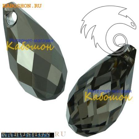 Бусина Swarovski (Сваровски) Briolette 11х5,5 мм Crystal Silver Night