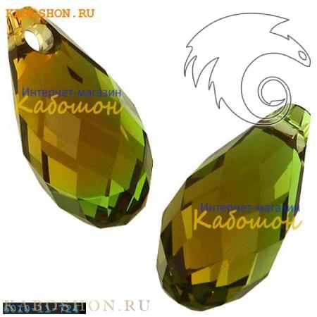 Бусина Swarovski (Сваровски) Briolette 11х5,5 мм Fern Green-Topaz Blend