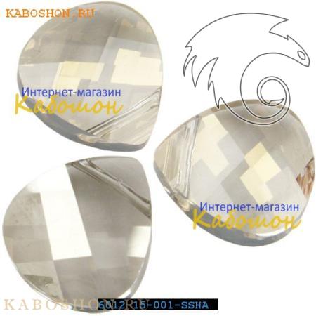 Бусина Swarovski (Сваровски) Flat Briolette 15,4 мм Crystal Silver Shade
