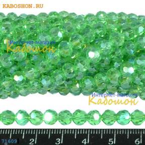 Бусины стеклянные круглые граненые 6 мм перидот