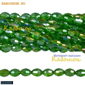 Бусины стеклянные овальные граненые 10х8 мм травянисто-зеленые