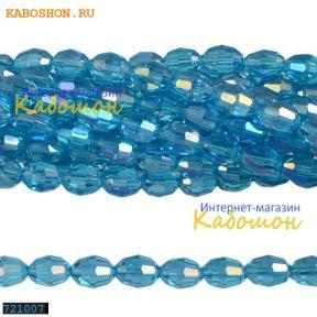 Бусины стеклянные овальные граненые 10х8 мм аквамарин