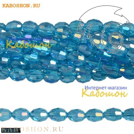 Бусины стеклянные овальные граненые 10х8 мм аквамарин 721007