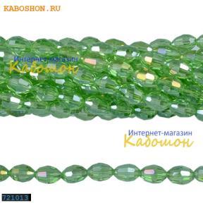Бусины стеклянные овальные граненые 10х8 мм перидот