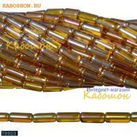 Бусины стеклянные трубочки 9х4 мм коньячный топаз