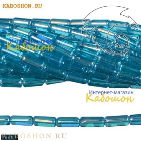 Бусины стеклянные трубочки 10х4 мм аквамарин
