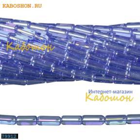 Бусины стеклянные трубочки 9х4 мм светлый сапфир