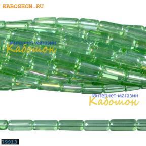 Бусины стеклянные трубочки 10х4 мм перидот