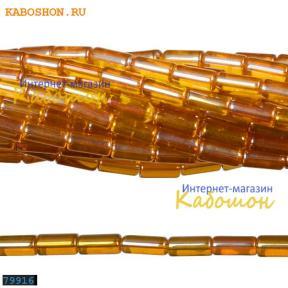 Бусины стеклянные трубочки 9х4 мм рыжие