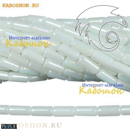 Бусины стеклянные трубочки 10х4 мм белый алебастр 79918
