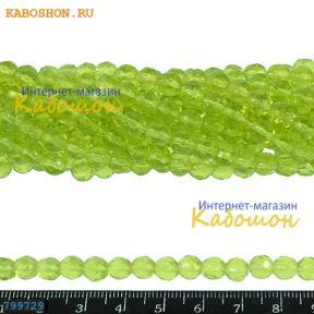 Бусины стеклянные граненые 6 мм светло-зеленый (лайм)