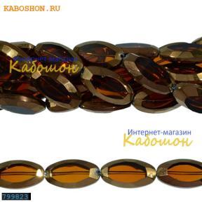 Бусины стеклянные овальные 26х14 мм коричневые