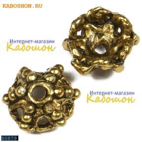 """Колпачок """"паутина"""" 12 мм старинное золото"""