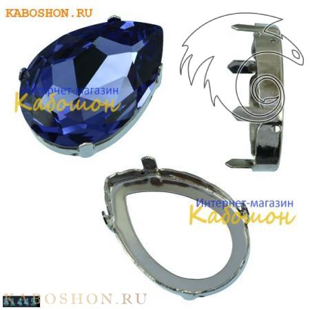 Оправа для кристаллов Swarovski (Сваровски) 4327 Pear Fancy stone 30х20 мм родий