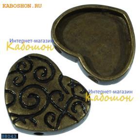 Разделитель на 2 нити сердце 18х15 мм старинная бронза
