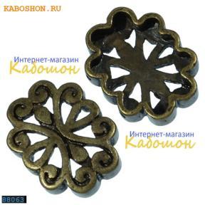 Разделитель на 2 нити овальный 18х14 мм старинная бронза