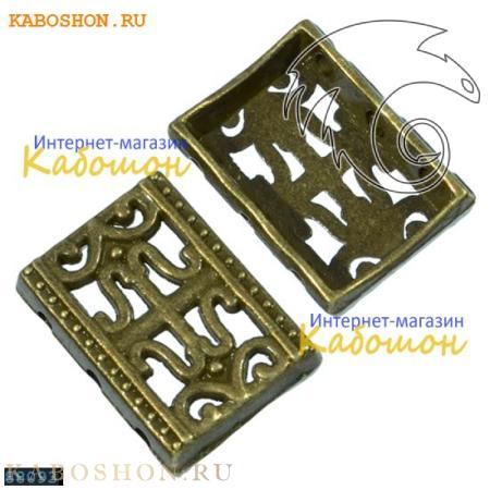 Разделитель на 3 нити прямоугольный 16х12 мм старинная бронза
