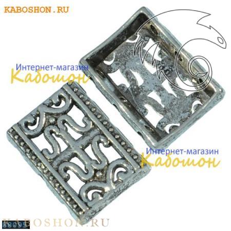 Разделитель на 3 нити прямоугольный 16х12 мм старинное серебро