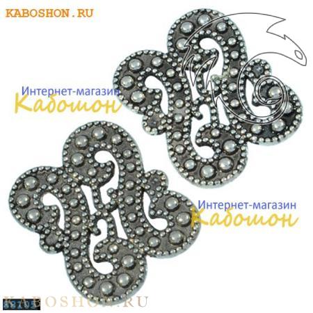 "Разделитель на 2 нити ""завитки"" 18х14 мм старинное серебро"