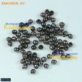 Бусина круглая 2 мм черный никель (80 шт)