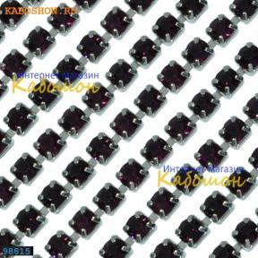 Цепь со стразами 3 мм Amethyst-Platinum