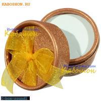 Подарочная коробочка 53х40 мм круглая (желтый бант)
