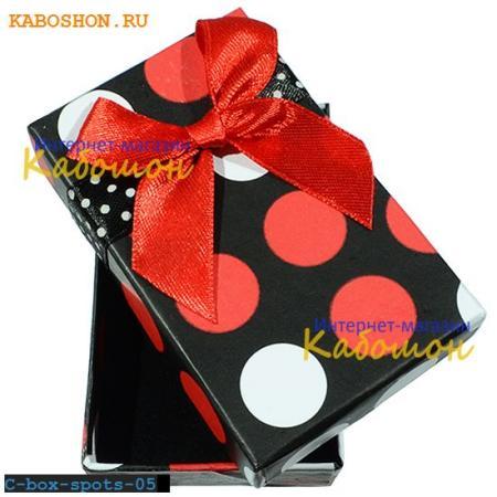 Подарочная коробочка 75х46х23 мм (красный принт) C-box-spots-05