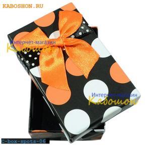 Подарочная коробочка 75х46х23 мм (оранжевый принт)