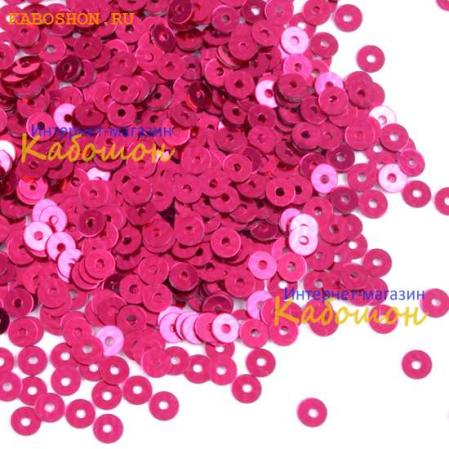 Пайетки плоские 4 мм Metallic Dark Pink