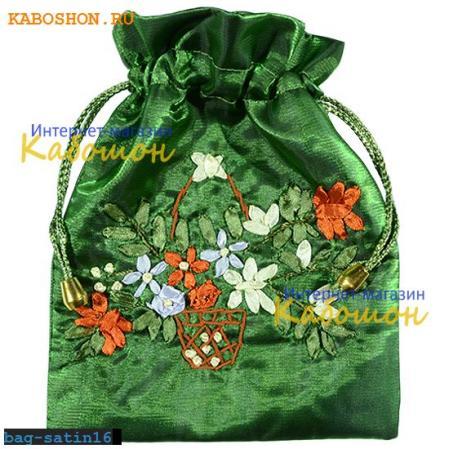 Подарочная сумочка сатин 21х17 см зеленая