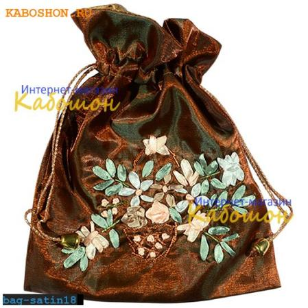 Подарочная сумочка сатин 21х17 см коричневая