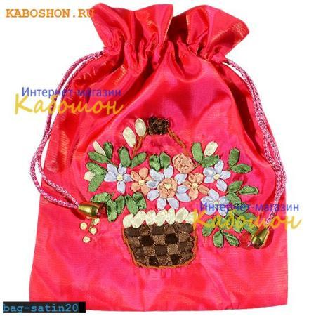 Подарочная сумочка сатин 21х17 см фуксия