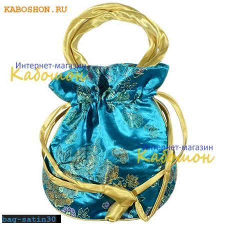 Подарочная сумочка сатин 22х20 см ярко-голубая