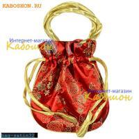 Подарочная сумочка сатин 22х20 см красная