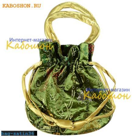 Подарочная сумочка сатин 22х20 см оливковая