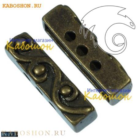 Разделитель на 3 нити прямоугольный 18х5 мм старинная бронза