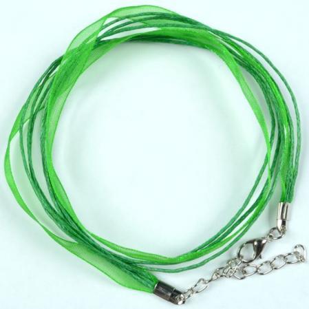 Вощеный шнур на шею с лентой из органзы и замком зеленый