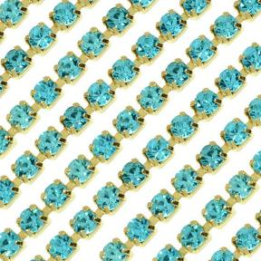 Цепь со стразами 3 мм Aquamarine-Gold
