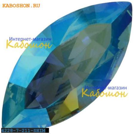 Swarovski Navette Fancy stone 15х7 мм Light Sapphire Shimmer 4228-15-211-SHIM