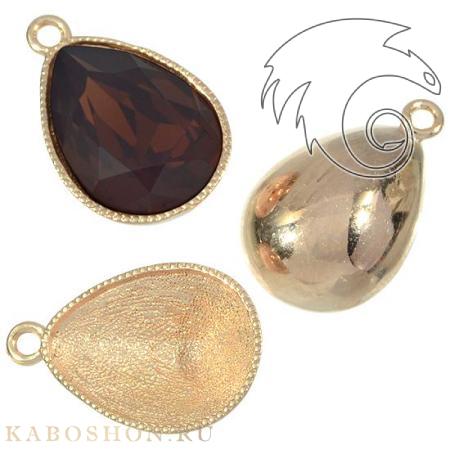 Оправа-подвеска для Swarovski (Сваровски) 4320 Fancy stone 14х10 мм золото
