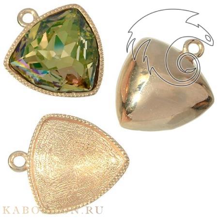 Оправа-подвеска для Swarovski (Сваровски) 4706 Fancy stone 12 мм золото