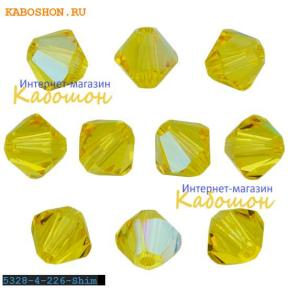 Swarovski Xilion beads 4 мм Light Topaz Shimmer
