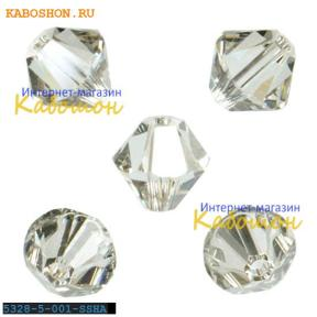 Swarovski Xilion beads 5 мм Crystal Silver Shade