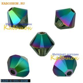 Swarovski Xilion beads 6 мм Crystal Scarabaeus Green