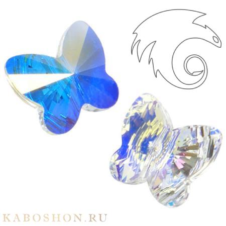Бусина Swarovski (Сваровски) Butterfly Bead 10 мм Crystal AB