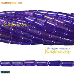 Бусины стеклянные трубочки 9х4 мм темный сапфир